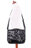 Steampunk Handbag | Gothic Handbag | Black Embroidered Cog and Clockwork Satchel Bag | Gothic Satchel