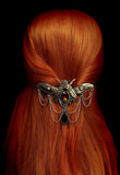 Victorian Gothic Bejewelled Moth Beetle Butterfly hair Clip. Steampunk Style Fascinator