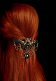 Pretty Winged Decorative Steampunk hair Clip hair Accessory. Victorian Gothic Style Jewelled hair Clip.