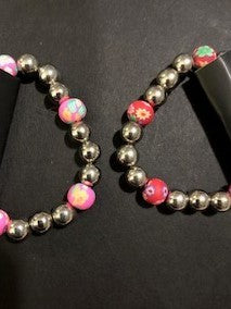 Starlet Shimmer Silver Stretch Bracelets With Clay Flower Beads