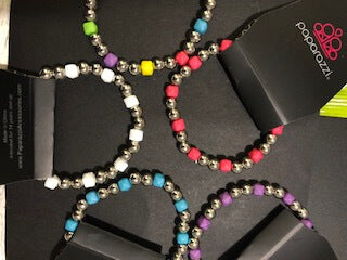 Silver Bead with Colorful Cube Bracelets Starlet Shimmer