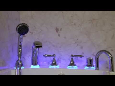 LED Lighted High Flow Rate 5 Piece Roman Faucet