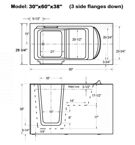 "30"" x 60"" x 38"" Walk in Tub Dual Jetted"