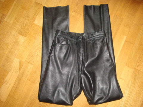 flash black leather pants - size 28
