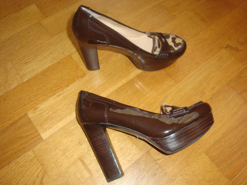 marc fisher brown patent leather platform pumps with animal print - size 7