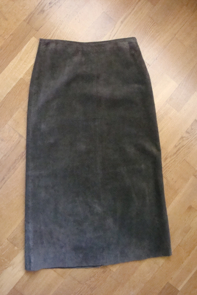 for joseph olive green long suede skirt - size 27