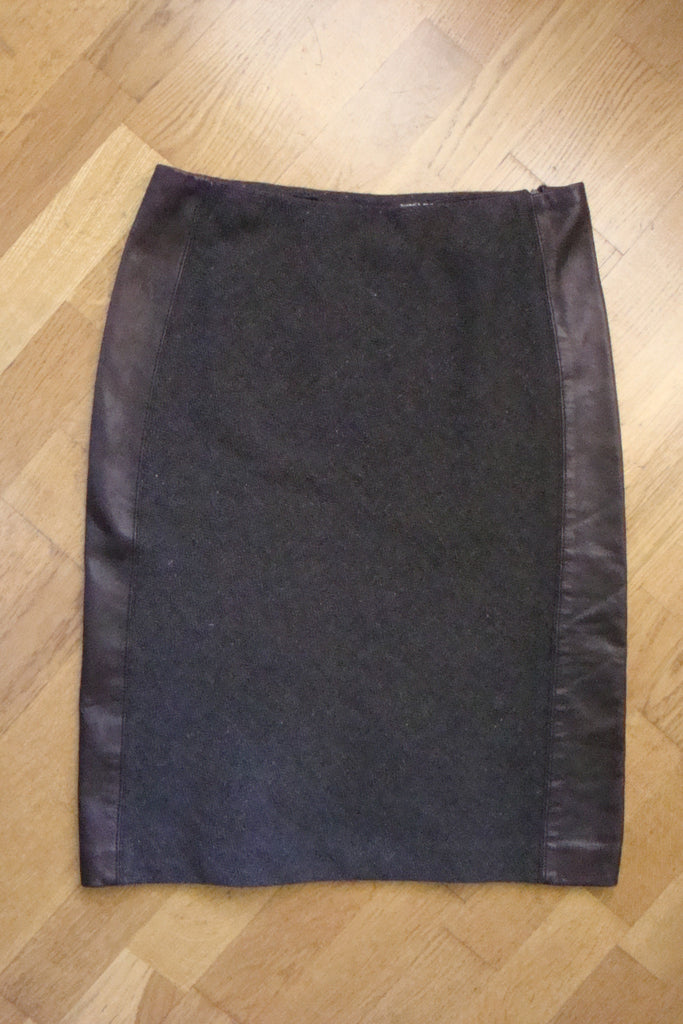 dkny brown tweed & faux leather skirt - size 4