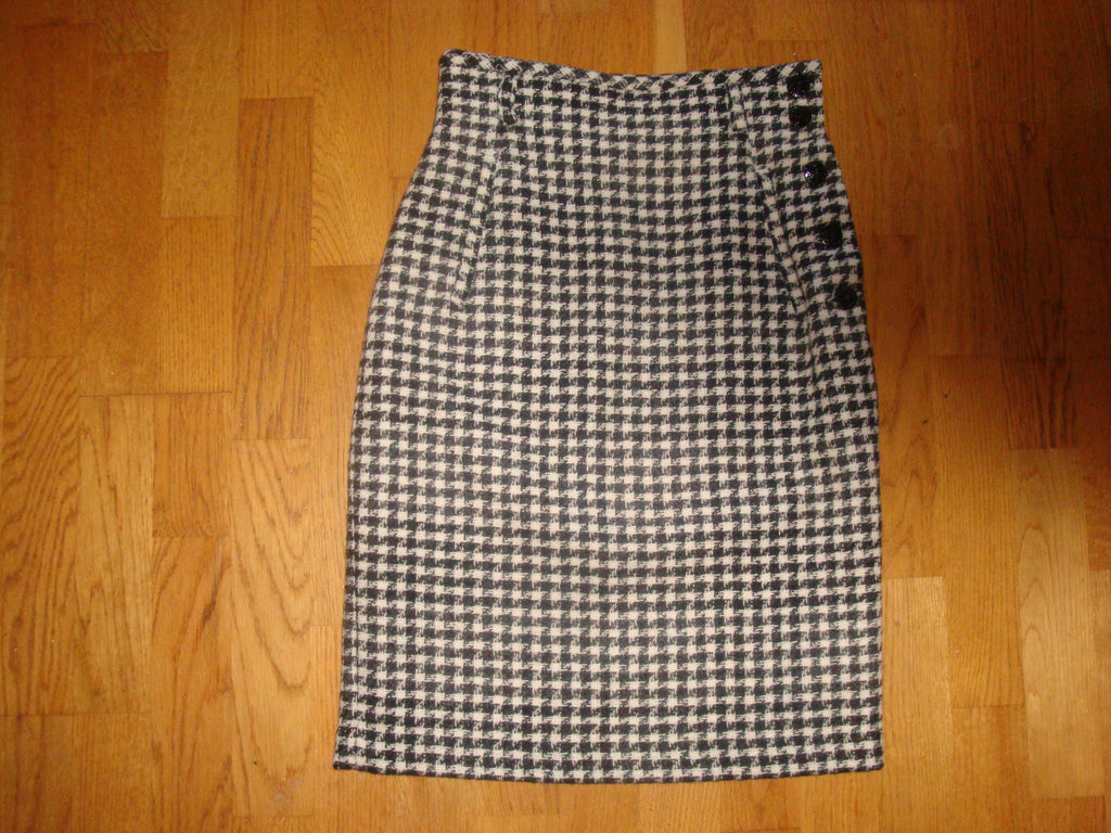 joan & david vintage 80's wool check skirt - size 40 6