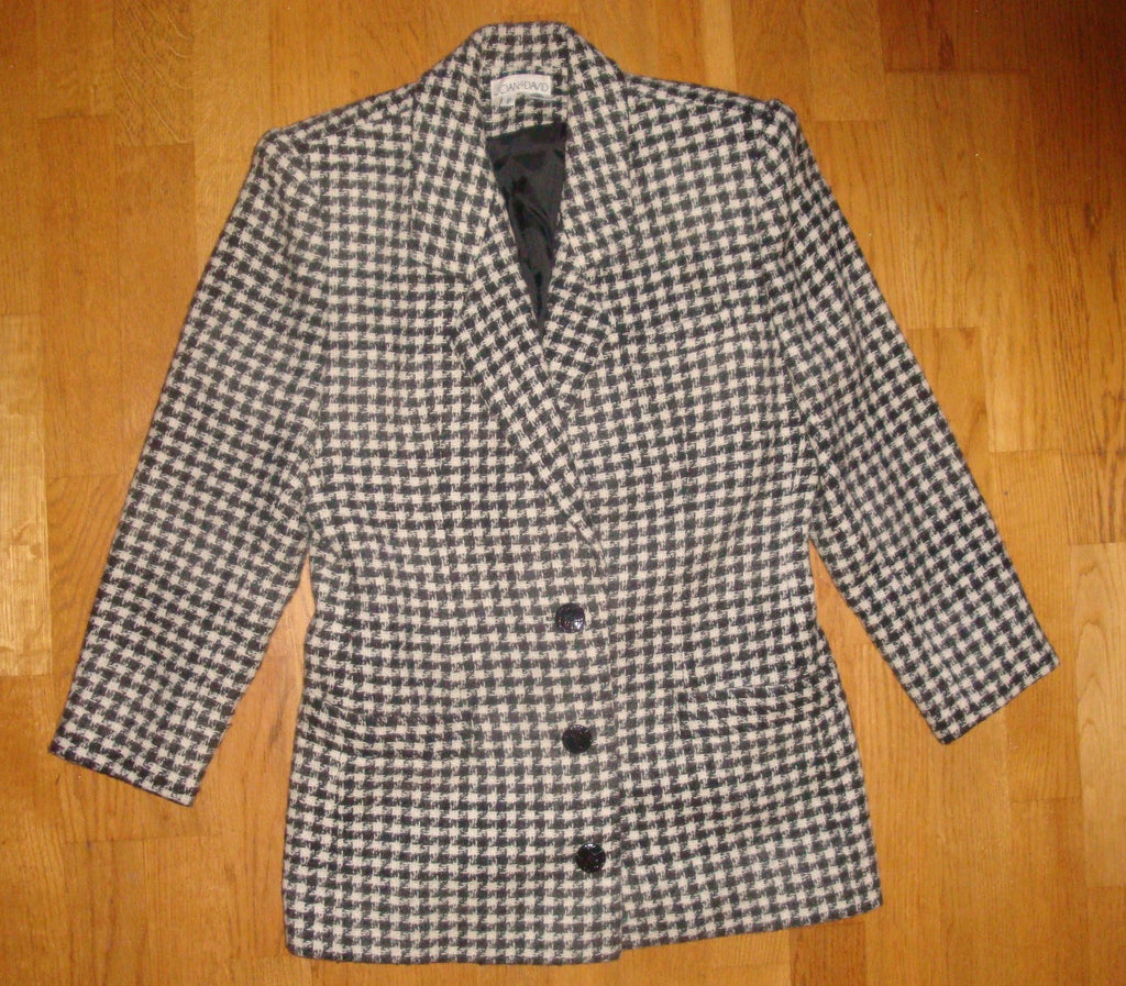 joan & david vintage 80's wool check blazer jacket - size 40 6