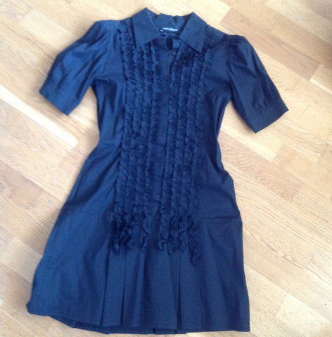 flavio castellani black cotton shirt dress with ruffle detail - size 44