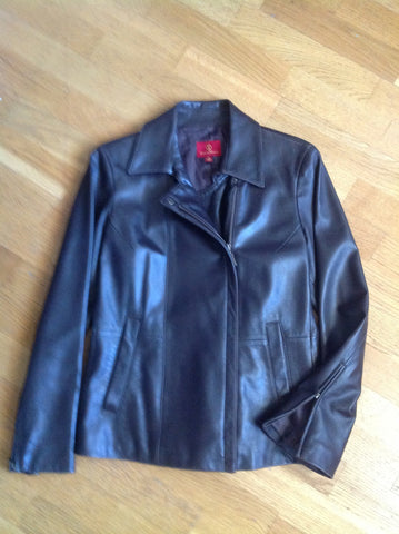 cole haan brown leather jacket - size medium