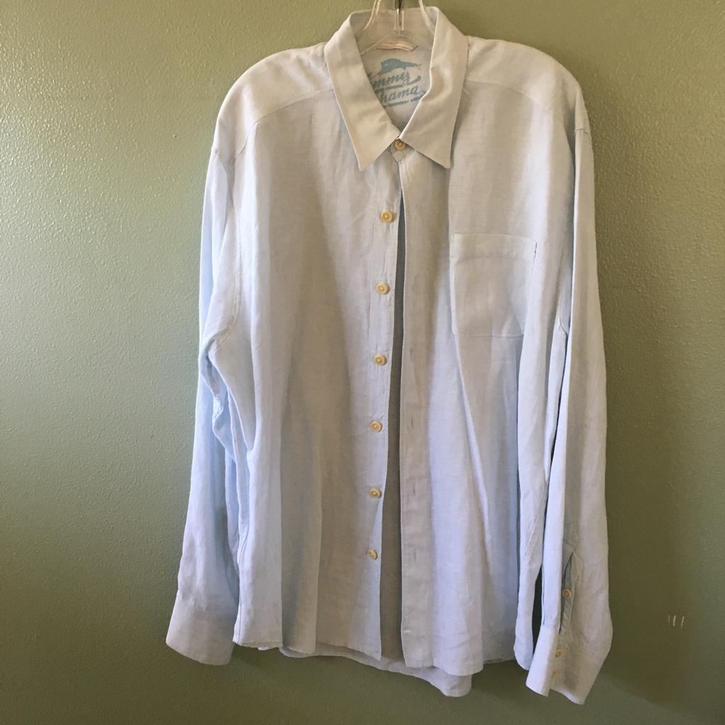 tommy bahama pale blue button down shirt