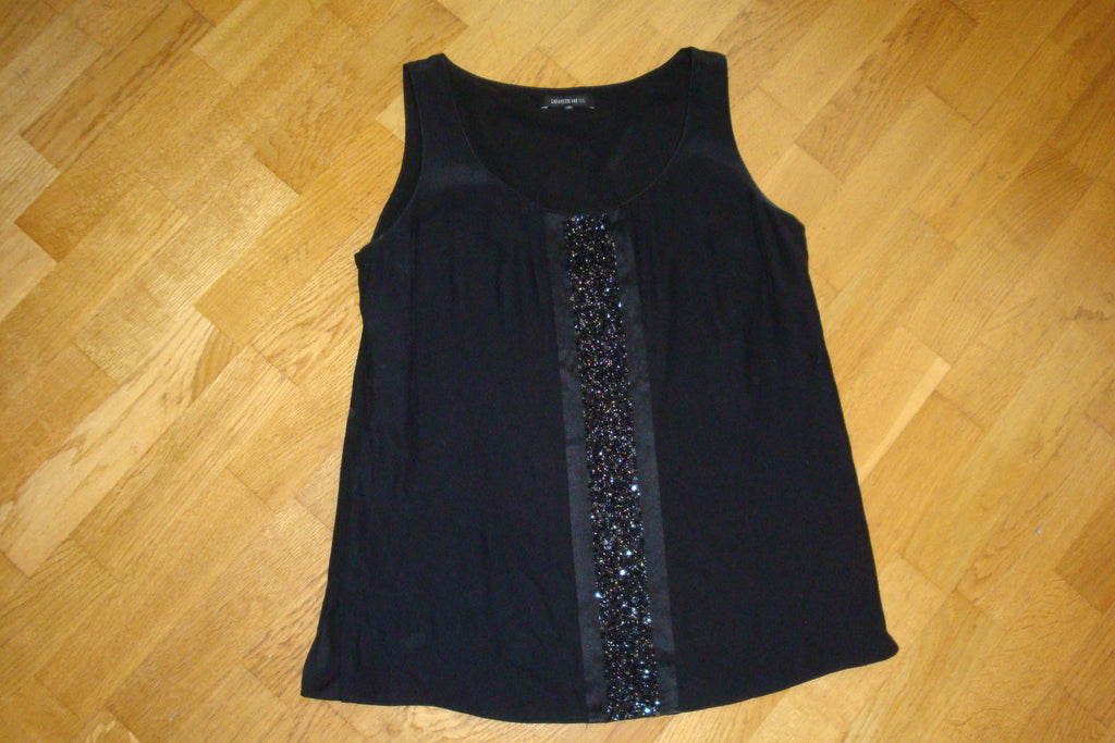 lafayette 148 new york black silk sleeveless top with embellishments - size medium