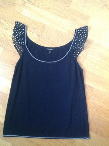 escada black knit top with polka dot sleeves - size 40