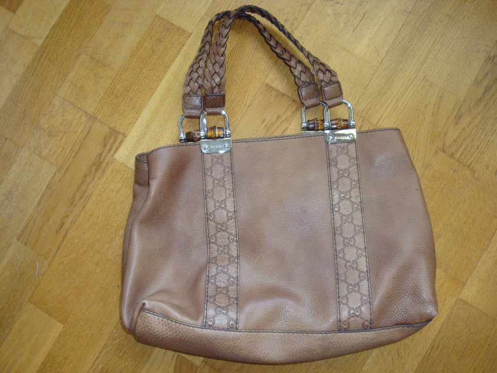 gucci brown handbag with braided straps