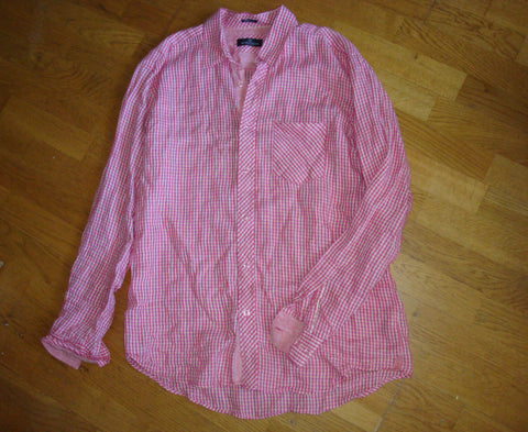 bugatchi uomo men's pink long sleeve linen dress shirt - size xl