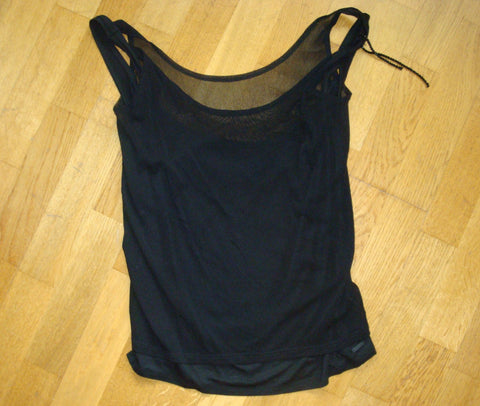 diesel black mesh 2 tiered tank top - size small