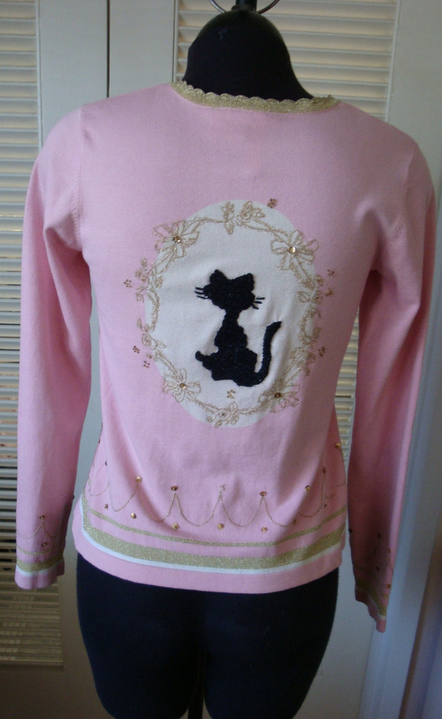 charlotte pink black cat silk sweater - size medium