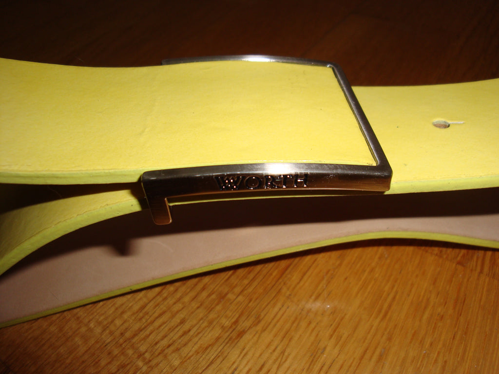 worth collection yellow patent leather belt - size medium