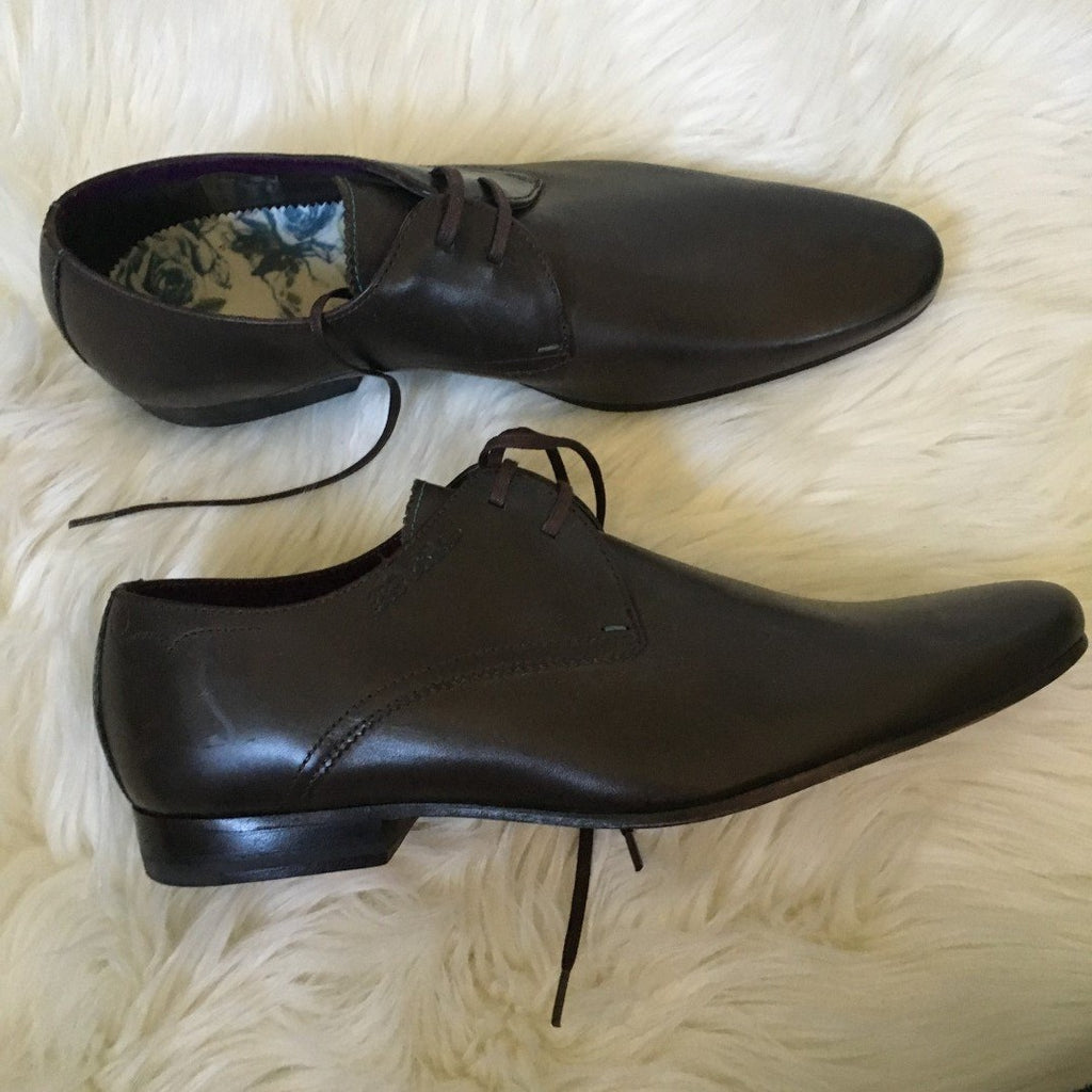 ted baker london brown leather lace-up shoes