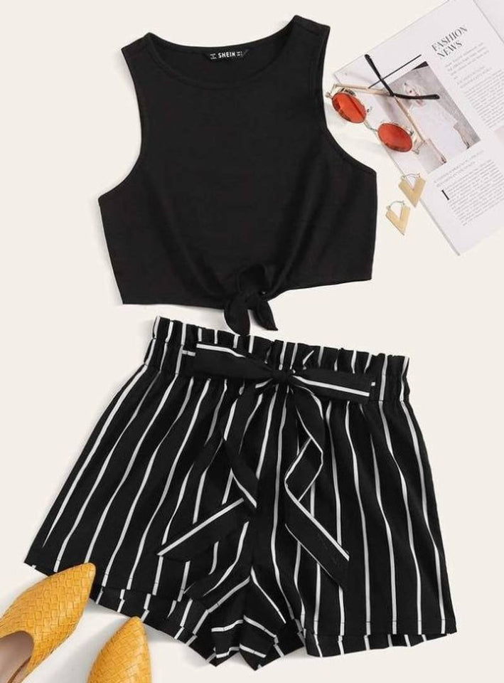 BLACK BASE WITH WHITE STRIPE SHORTS