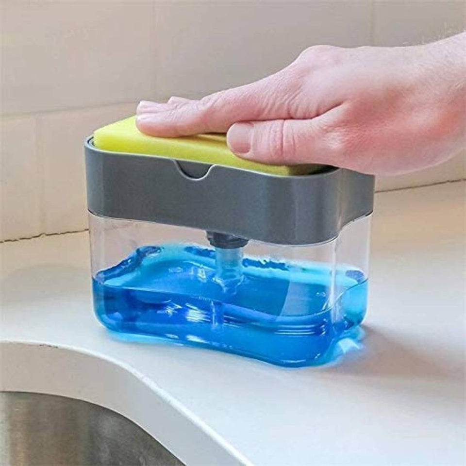 2-in-1 Double Layer Plastic Sponge Box with Soap Dispenser
