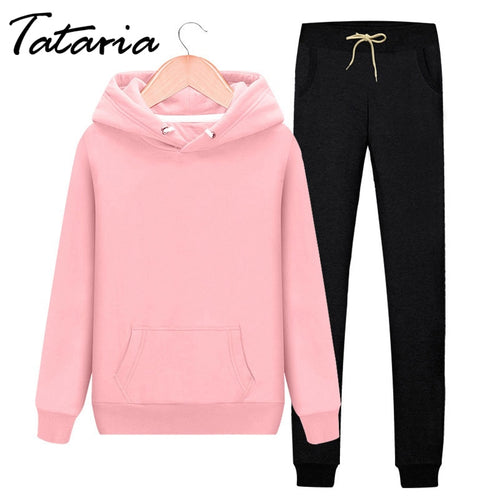 2 Piece Tracksuit Women  Hooded Sweatshirt and Harem Pants