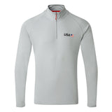 USA SailGP Team: UV Tec Long Sleeve Zip Tee - Medium Grey
