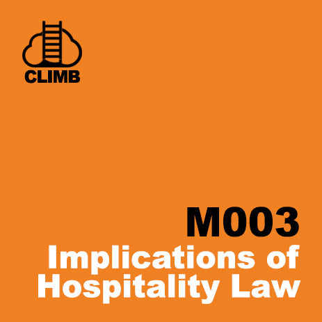 60 min Hospitality Climb class- Implications of Hospitality Law