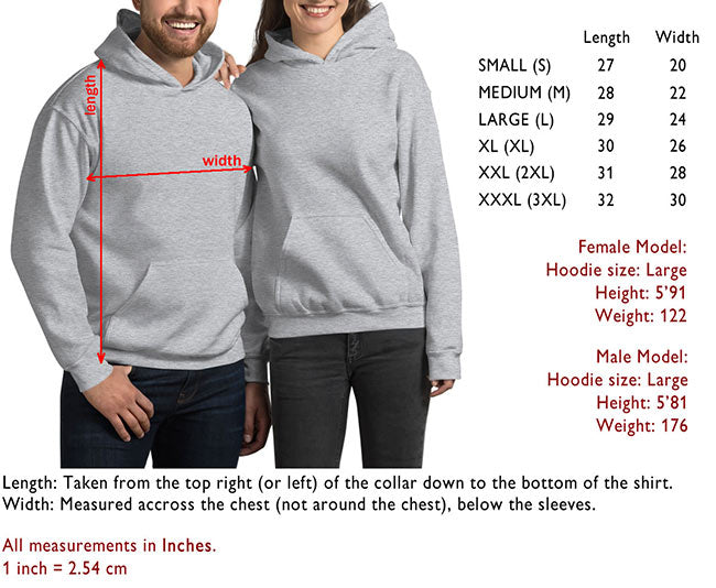 Hoodies Size Guide - Art-O-Rama
