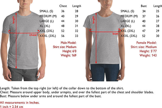 Size and Fit Information for Artorama Shirts