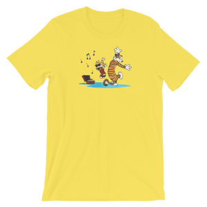 Calvin and Hobbes Dancing with Record Player Youth T-Shirt - Yellow / XS by Art-O-Rama