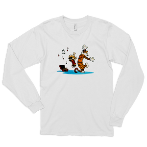 Calvin and Hobbes Dancing with Record Player Long Sleeve Shirt - White / Small by Art-O-Rama