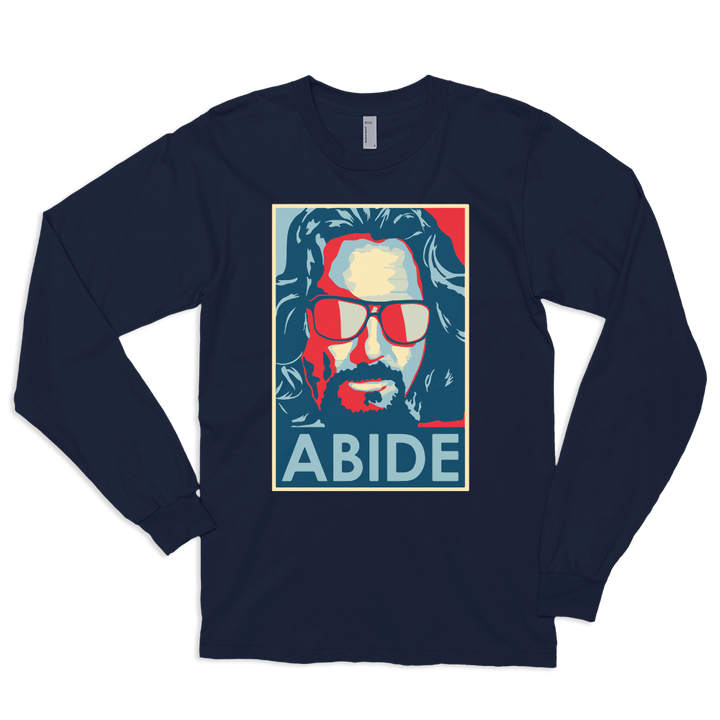 Big Lebowski Abide, Hope Style Artwork Long Sleeve Shirt - Navy / Small by Art-O-Rama