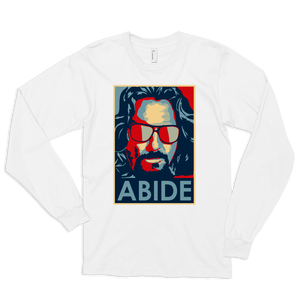 Big Lebowski Abide, Hope Style Long Sleeve Shirt - White / Small by Art-O-Rama