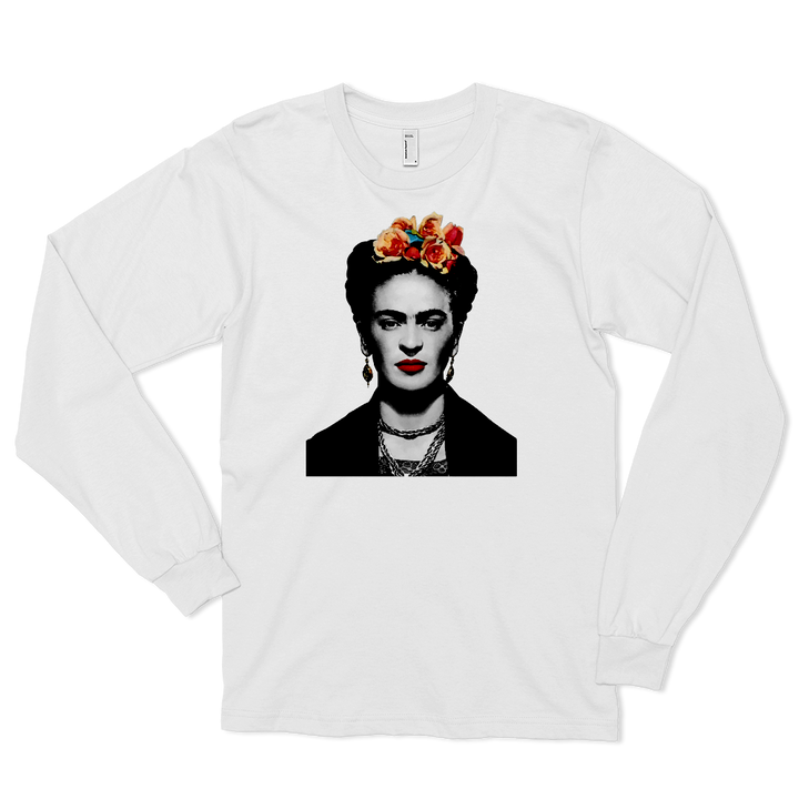 Frida Kahlo With Flowers Poster Artwork Long Sleeve Shirt - Art-O-Rama
