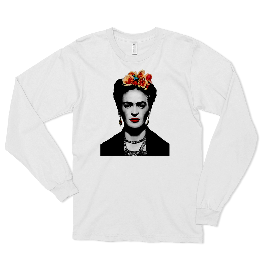 Frida Kahlo With Flowers Poster Artwork Long Sleeve Shirt - White / Small by Art-O-Rama