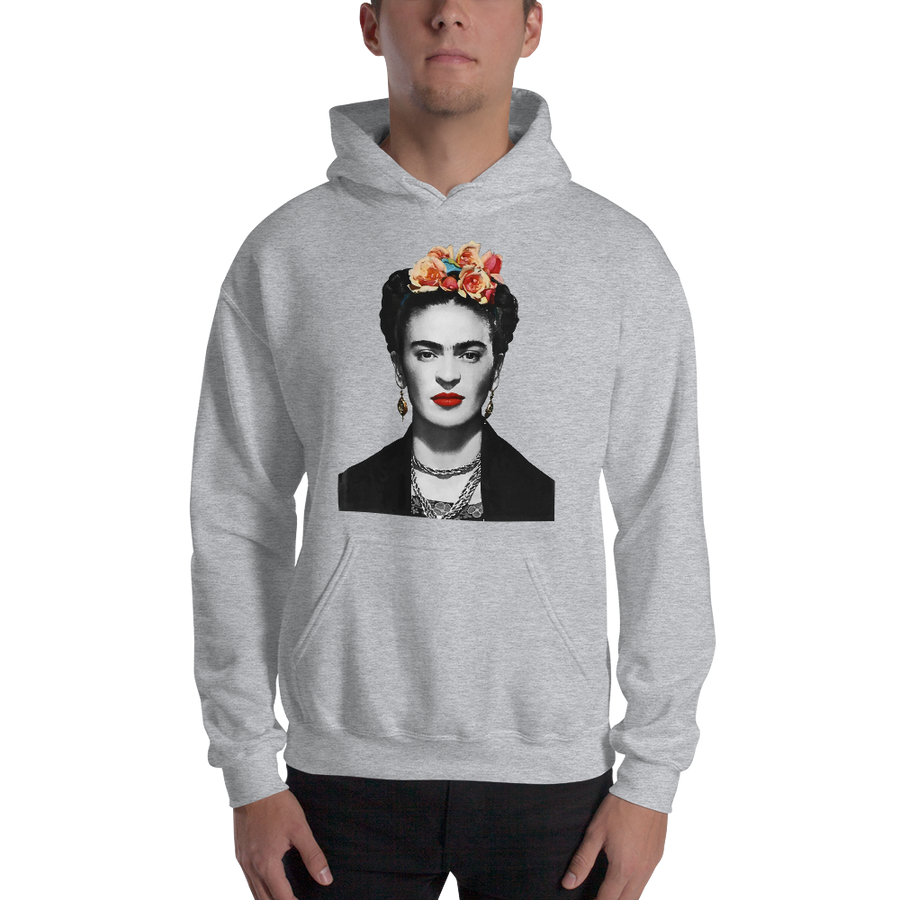 Frida Kahlo With Flowers Poster Artwork Unisex Hoodie - [variant_title] by Art-O-Rama