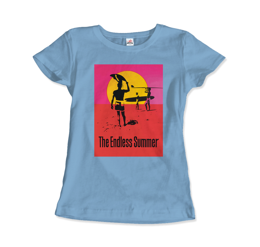The Endless Summer 1966 Surf Documentary Poster Artwork T-Shirt - Women / Light Blue / Small by Art-O-Rama