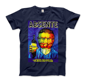 Absente, Vintage Absinthe Liquor Advertisement with Van Gogh T-Shirt - Men / Navy / Small by Art-O-Rama
