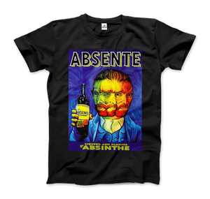 Absente, Vintage Absinthe Liquor Advertisement with Van Gogh T-Shirt - Men / Black / Small by Art-O-Rama