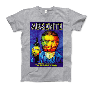 Absente, Vintage Absinthe Liquor Advertisement with Van Gogh T-Shirt - Men / Heather Grey / Small by Art-O-Rama