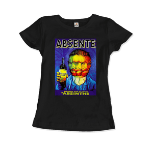 Absente, Vintage Absinthe Liquor Advertisement with Van Gogh T-Shirt - Women / Black / Small by Art-O-Rama