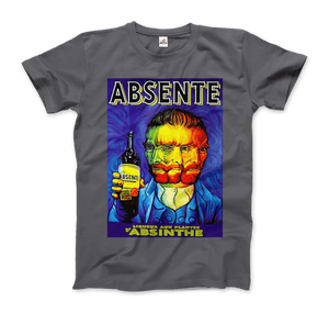Absente, Vintage Absinthe Liquor Advertisement with Van Gogh T-Shirt - Men / Charcoal / Small by Art-O-Rama
