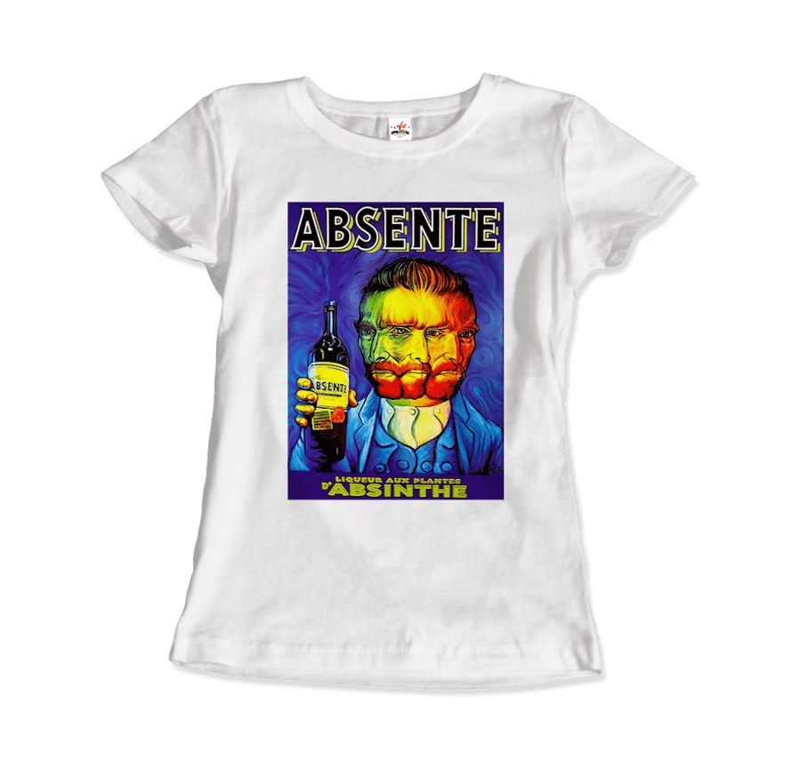 Absente, Vintage Absinthe Liquor Advertisement with Van Gogh T-Shirt - Women / White / Small by Art-O-Rama