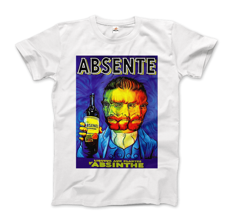 Absente, Vintage Absinthe Liquor Advertisement with Van Gogh T-Shirt - Men / White / Small by Art-O-Rama