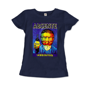 Absente, Vintage Absinthe Liquor Advertisement with Van Gogh T-Shirt - Women / Navy / Small by Art-O-Rama