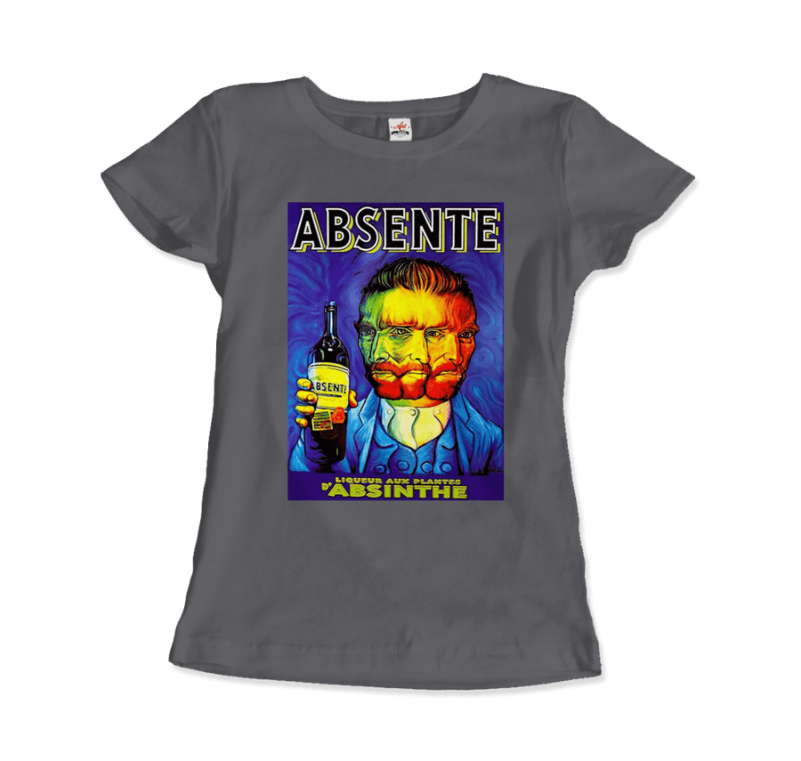 Absente, Vintage Absinthe Liquor Advertisement with Van Gogh T-Shirt - Women / Charcoal / Small by Art-O-Rama