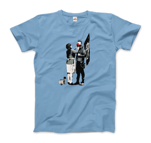 Banksy Anarchist Punk And His Mother Artwork T-Shirt - Men / Light Blue / Small by Art-O-Rama