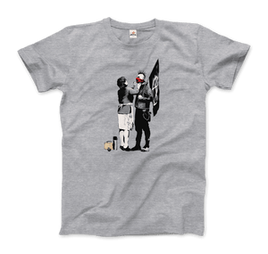 Banksy Anarchist Punk And His Mother Artwork T-Shirt - Men / Heather Grey / Small by Art-O-Rama